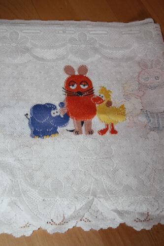 Sendung mit der Maus Gardine Vorhang Kinder Bistrogardine pro 1,50 m weiß  NEU