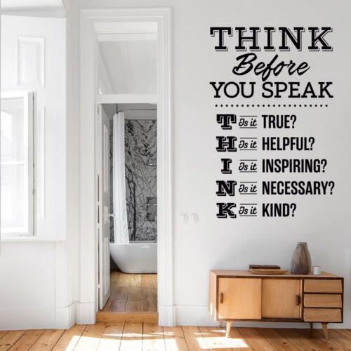 Vinilo Pared Arte Pegatina Citar piensa antes de hablar Mural Dormitorio Decoración