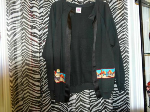 XL Details about  /HANES HER WAY Black w//Pottery /& Catus Around Bottom /& Back Jacket Sweater Sz