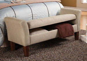 Exceptionnel Image Is Loading Contemporary Upholstered Storage Bench  Ottoman Tan Woven Linen