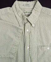 Orvis Mens Casual Short Sleeve Shirt Size Large Green Stripes 100% Cotton EUC
