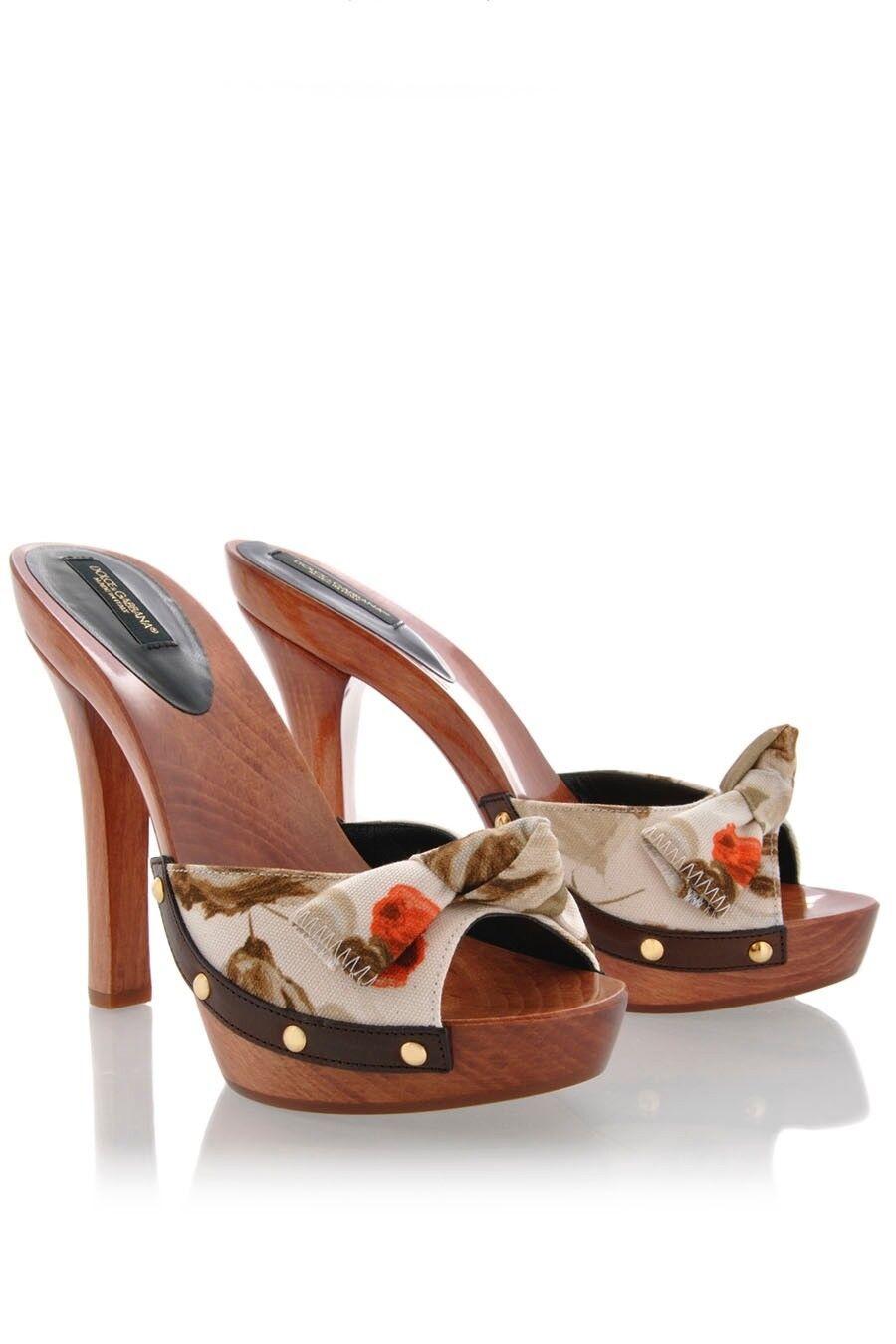 Dolce & GABBANA Zapatos Taco aguja punta abierta de madera mulas ** ** Nuevo Impresionante