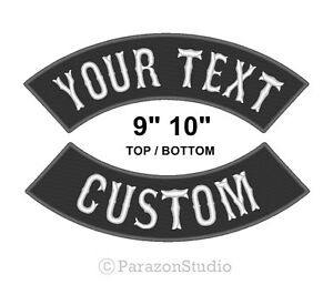 "Custom Embroidered 9"" 10"" Top Bottom Rocker Sew on Patch MC Biker Badge (B)"