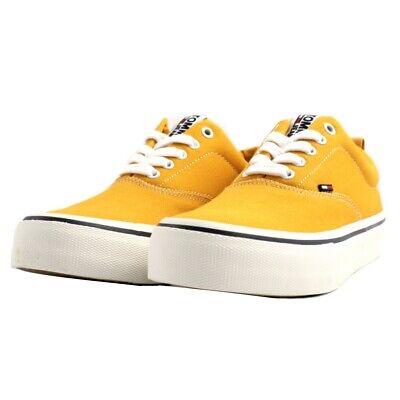 Dettagli su Scarpe sneaker Tommy Hilfiger uomo tessuto canvas giallo fondo gomma bianca