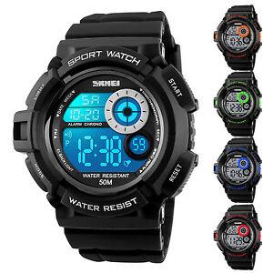 SKMEI Multi-Function Men's Rubber Waterproof LED Digital Alarm Sport Wrist Watch