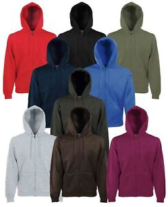 Fruit Of The Loom Mens Zip Through Hooded Sweatshirt Hoodie 10 Clrs BC360