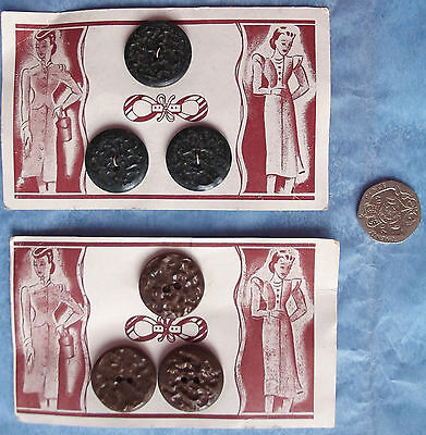"3 vintage buttons on original card Art Deco 7/8"" brown green"