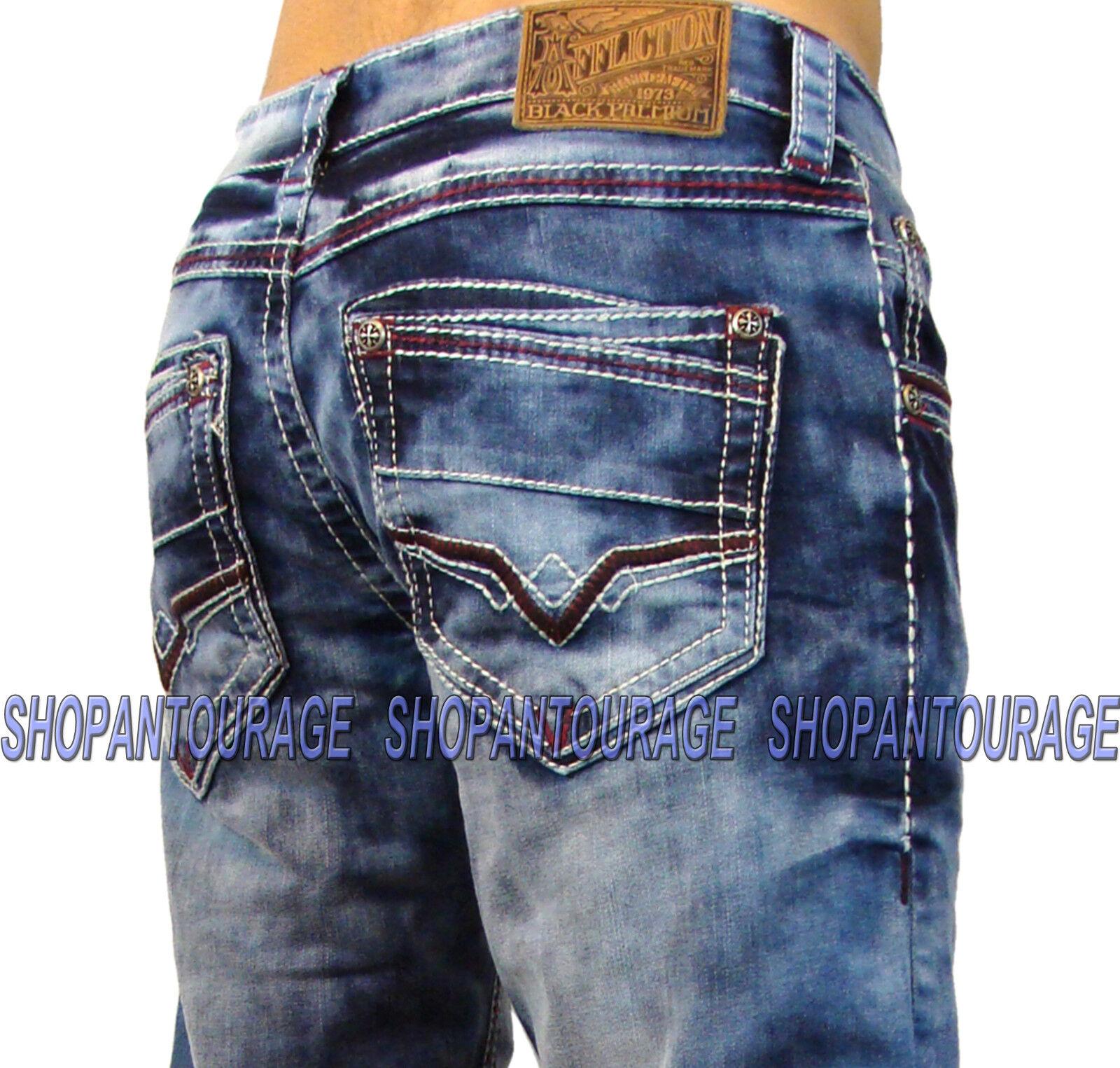 AFFLICTION Ace Dent Trenton 110SS110 New Slim Straight bluee Denim Jeans For Men