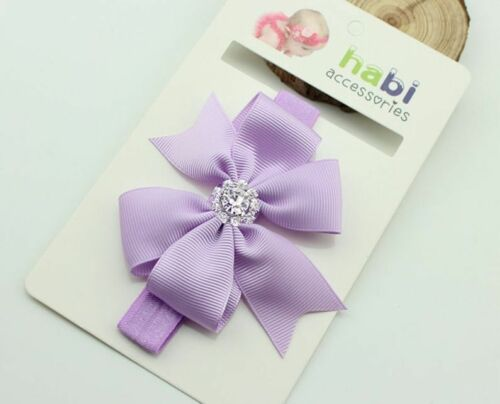 8 Colours UK Seller NEW Beautiful Ribbon /& Diamante Bow Baby Headband