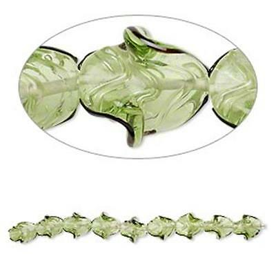 2111 Green Glass Beads Twisted Leaf 7 inch 22mm *UK  SHOP*