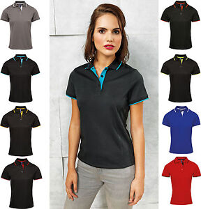 Image is loading Ladies-Womens-Polo-Shirt-Moisture-Wicking-Fabric-Smart- 2c21e09c38