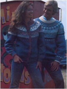His and her Chunky Nordic Yoke Sweater and Cardigan Knitting Pattern 10127 - Dunoon, United Kingdom - His and her Chunky Nordic Yoke Sweater and Cardigan Knitting Pattern 10127 - Dunoon, United Kingdom