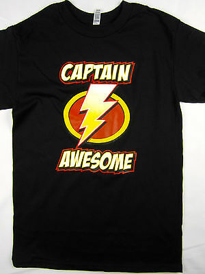 Captain Awesome super hero funny tee shirt men's black Choose A Size