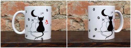 Tazza Mug ceramica bianca gatti bianco e nero innamorati    TZG004