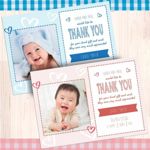 Photo personalised Birth Announcement postcards /& Envelopes Free proof