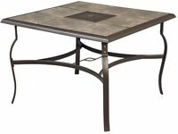 Square Patio Dining Table Outdoor Furniture Ceramic Tile Top Antique Bronze