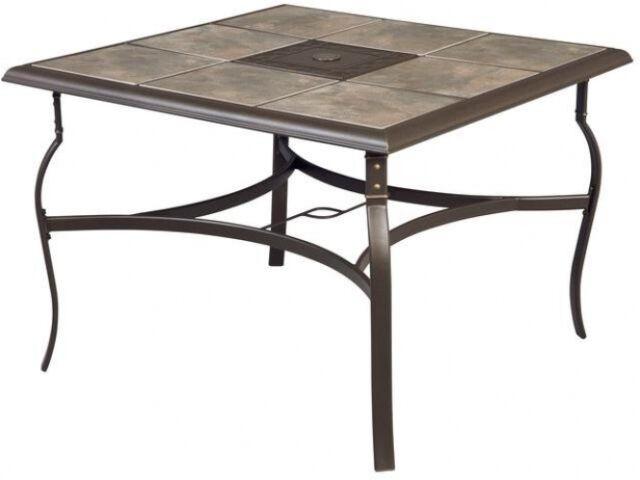hampton bay belleville 40 in square patio dining table ceramic tile rh ebay com Outdoor Dining Table Tile Insert Outdoor Dining Table Tile
