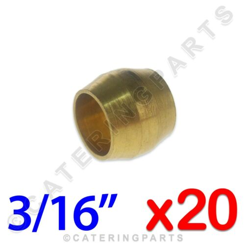 """PACK OF 20 x BRASS IMPERIAL 3//16/"""" OLIVES FITTINGS COPPER GAS PIPE PILOT TUBING"""