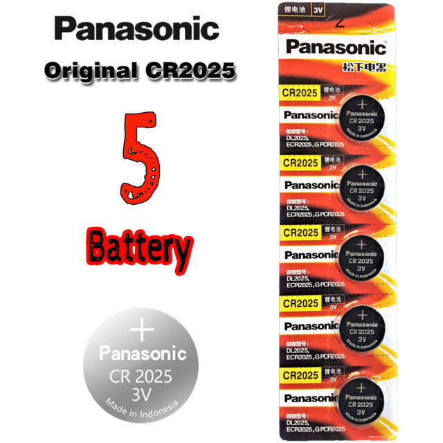 5 Pcs Panasonic CR2025 Button Cell Lithium Battery 3V, 165mAh DL2025, ECR2025