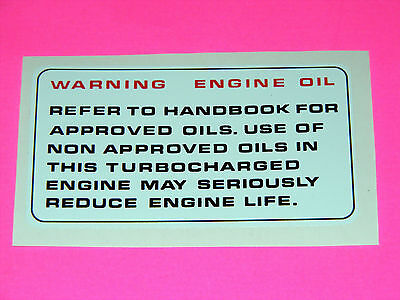 range rover classic and discovery engine oil decal 200 tdi