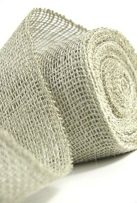"5YDS IVORY Off White Jute BURLAP 1-1/2""wide Wired Edge Ribbon"