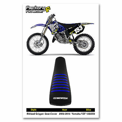 Yamaha YZ 125 250 2002-2020 Ribbed Gripper Seat Cover Blue White Ribs Moto X