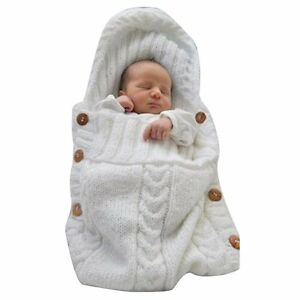Woolen Swaddle Wrap Baby Newborn Infant Knit Crochet Cotton Sleeping