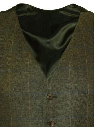 18515 SCOTT Mens Formal Wool Mix Tweed Waist Coat in Green