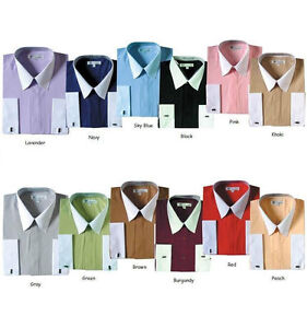 Men-039-s-French-Cuff-Solid-Dress-Shirt-03F2-Classic-Fit-Contrast-Collar
