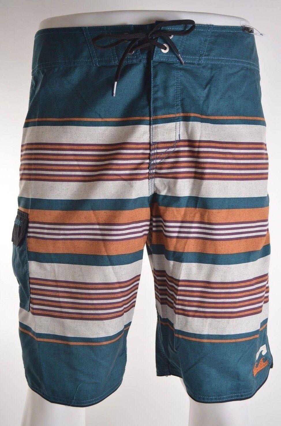 2015 NWT MENS BILLABONG ALL DAY STRIPE BOARDSHORT  32 deep sea embroidered
