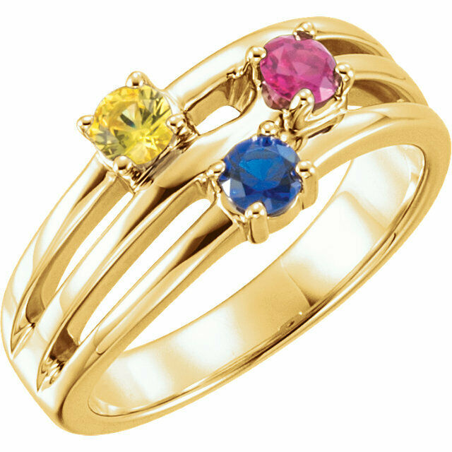 10K or 14K Solid gold Mother's Day Ring 1 to 5 Birthstones, Moms family Rings