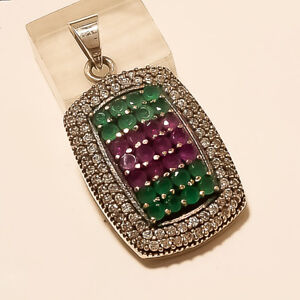 Natural Emerald Ruby Pendant 925 Sterling Silver Women Turkish Fine Jewelry Gift Engagement & Wedding Jewelry & Watches