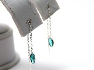 Sterling Silver Blue Topaz color Threader Earrings Marquise cut Dainty