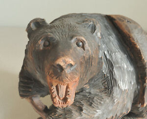 Details About 10 Inch Vintage Hand Carving Wooden Bear 1958 Signed Yuho