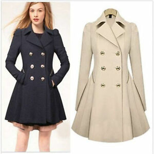 Womens Ladies Slim Fall Outwear Coat Breasted Long Trench Overcoat ...
