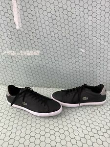Lacoste-GRAD-VULC-Black-Leather-Lace-Up-Low-Top-Fashion-Sneakers-Men-s-Size-12