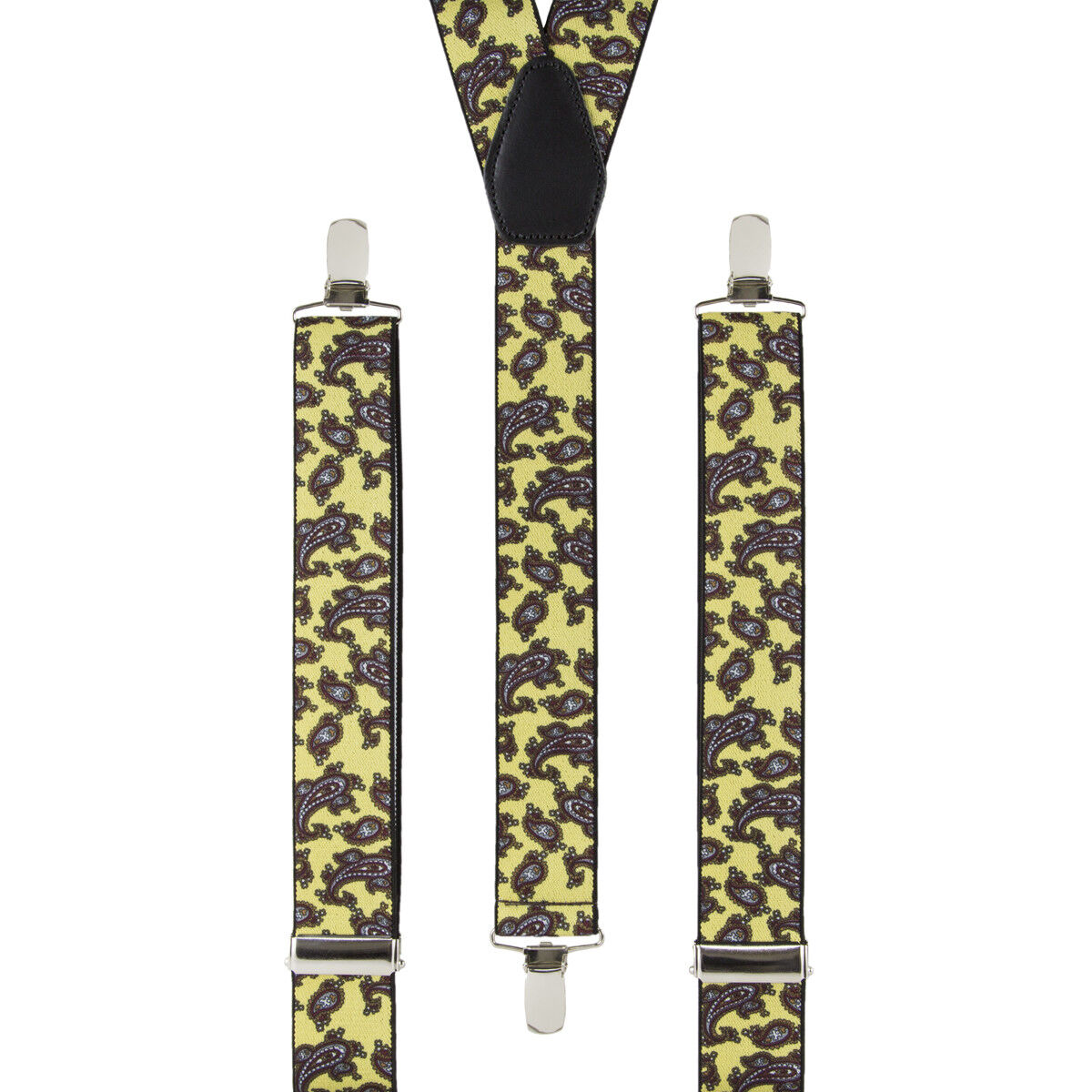 Mens Paisley Braces Yellow Clip On Elastic Suspenders Leather Kite Made in UK
