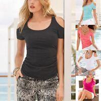 New Women Short Sleeve Cotton Casual Blouse Slim Shirt Tops Tees Fashion T-shirt