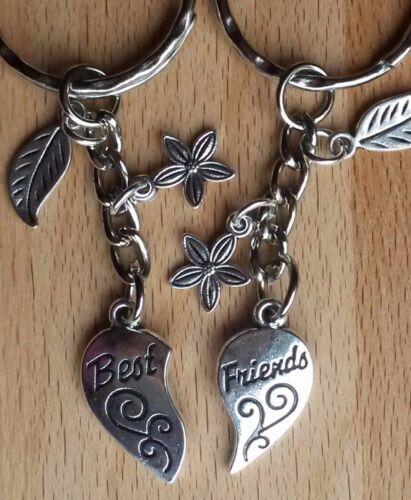 Choice of Heart Stars Flowers Set of 2 Friendship Keyrings Best Friends Gift