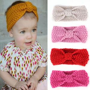 AU-Baby-Kids-Girls-Bowknot-Knitted-Headband-Hair-Band-Headwear-Photo-Prop-Relia