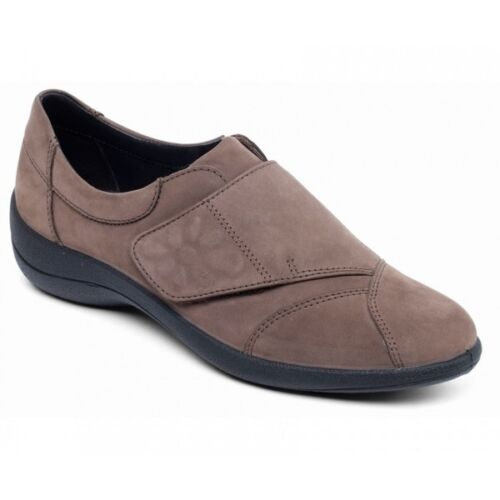 Padders rose femme cuir lisse Large E Fit Touch Attachez Chaussures Taupe