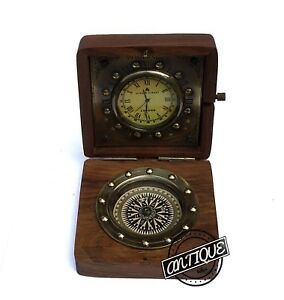 Bond-Street-Wooden-Brass-Clock-Retro-Desk-Mantel-Clock-and-Compass-Vintage-Decor