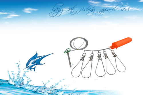 fishing Fish Hunter 5Metres 5 Locks Stainless Steel Chain Stringer with Float