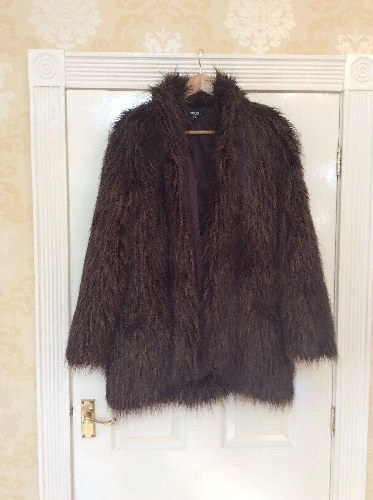 Ladies Asos Vintage Style Brown Faux Fur Coat Vgc