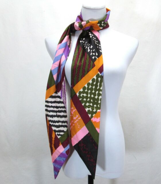 """Vintage Mod Long Scarf Bright Colors 68"""" Groovy Pattern Pointed Double Layer"""