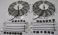 Dual 12 Universal Chrome S-blade Electric Radiator Cooling Fan + Mounting Kit