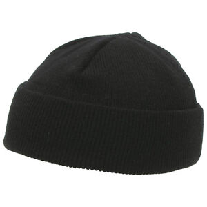 Fashion-Beanie-Plain-Hat-Warm-Winter-Skull-Cap-Knitted-Hat-Cozy-Chunky-Cap-Black