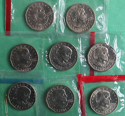 1979 PDS 1980 PDS 1981 PDS 1999 PD SBA Susan B Anthony BU Unc Dollar $1 Coin Set