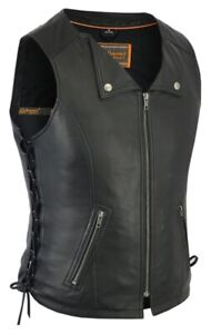 WOMENS MOTORCYCLE STYLISH BRAIDED LEATHER VEST w// DUAL CONCEAL POCKETS MA39