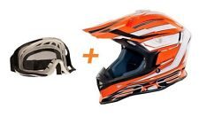 CASCO MOTO CROSS ONE TIGER ARANCIONE BIANCO NERO TG S MASCHERINA CROSS ENDURO